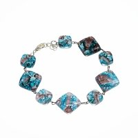 Glass turquoise and brown bracelet MEMPHIS 0401