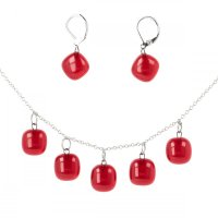 Red set of glass jewelry DOTS SOU0904
