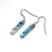 Glass earrings turquoise and brown MEMPHIS N0401