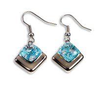 Glass earrings PLATINUM turquoise and brown NP0402
