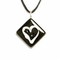 Black rhomb glass pendant with heart KIM P0808