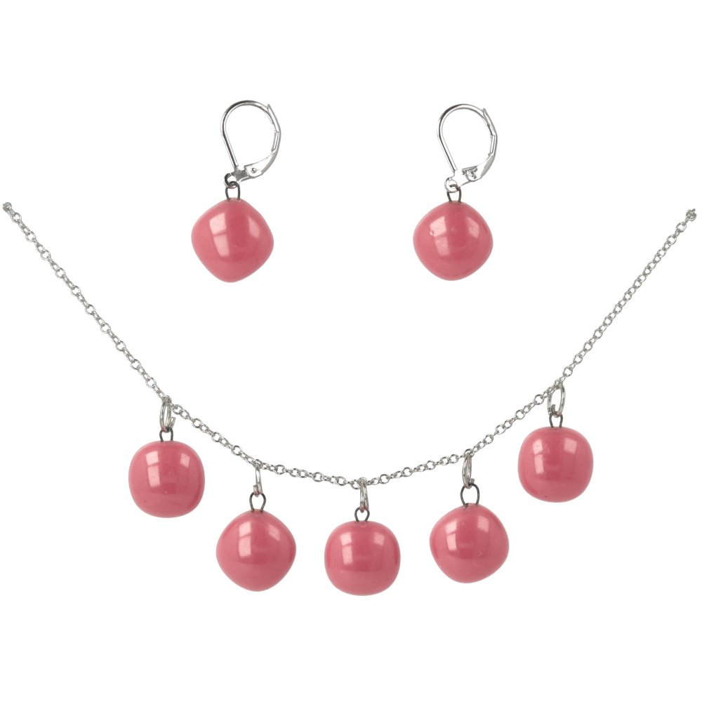 Glass jewelry set pink DOTS SOU1103