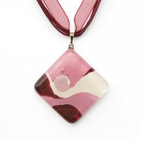 Pink square glass pendant HELENE P1117