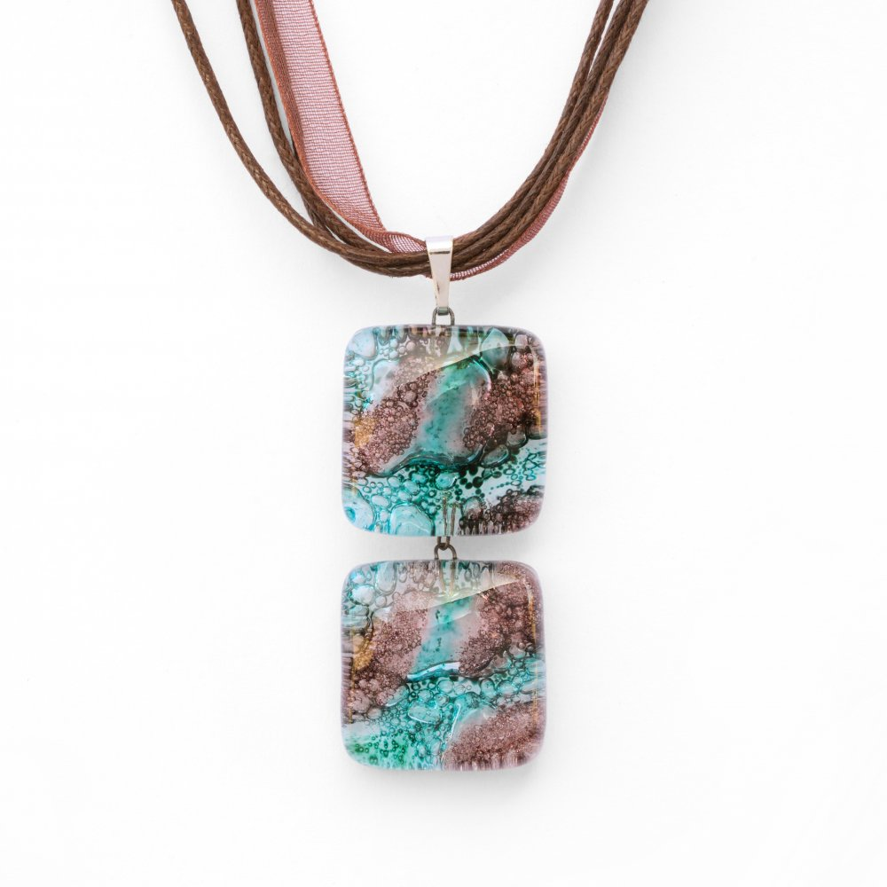 Glass pendant turquoise brown two-piece MEMPHIS P0407