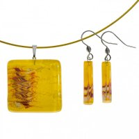 Set glass jewelry yellow - 1301