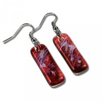 Glass earrings wine-coloured CHIARA N1208