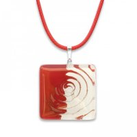 Red square glass pendant P0907