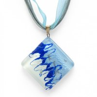 Blue square glass pendant ANNA P1006
