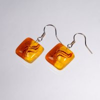 Glass earrings yellow JULIET N1306