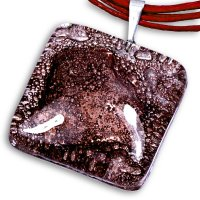 Brown square glass pendant TERRA P0206
