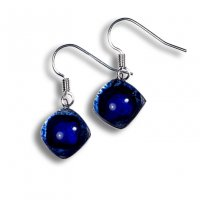 Glass earrings dark blue PARIS N0307