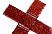 Ruby glass wall cross